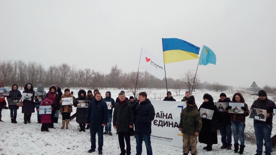 Поблизу контрольно-пропускного пункту «Каланчак» відбулась завершальна акція IV міжнародного флешмобу «United Ukraine»